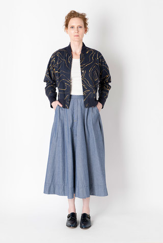 Alabama chanin chambray organic handsewn leighton long skirt 2