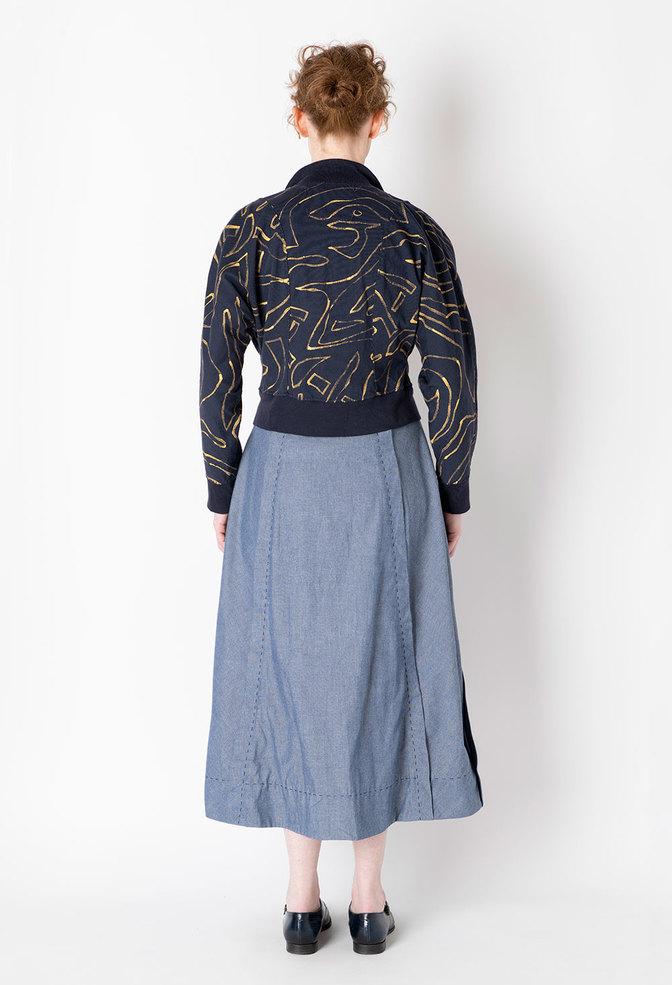 Alabama chanin chambray organic handsewn leighton long skirt 4