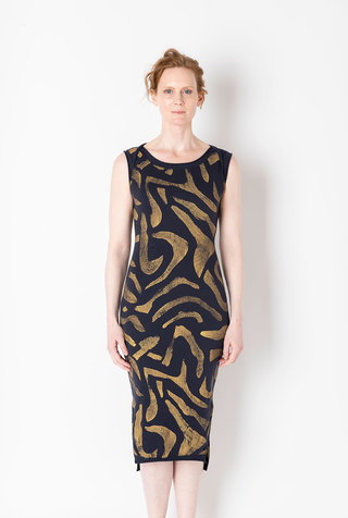 Alabama chanin fitted abstract motif dress 1