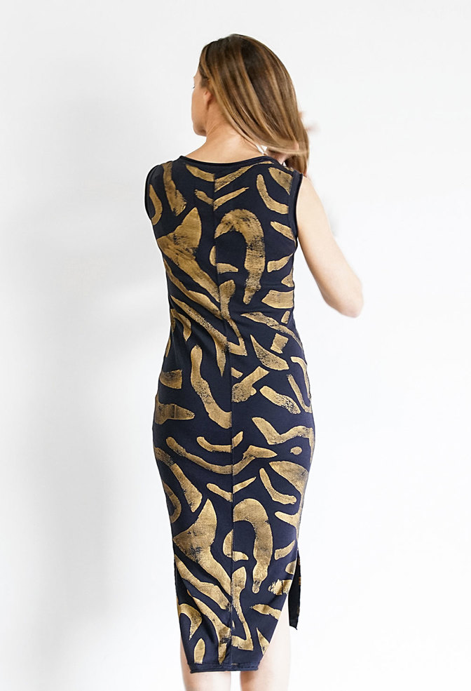 Alabama chanin fitted abstract motif dress 5
