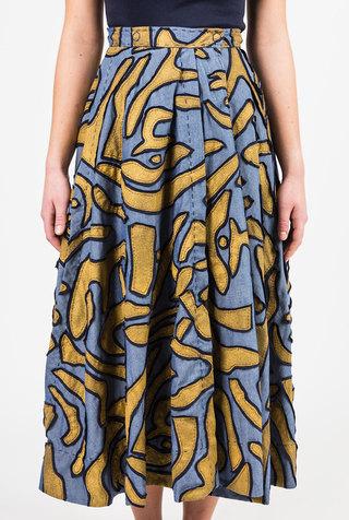 Alabama chanin embroidered chambray skirt 2