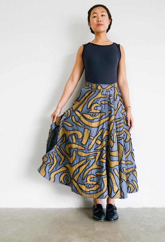 Alabama chanin embroidered chambray skirt 5