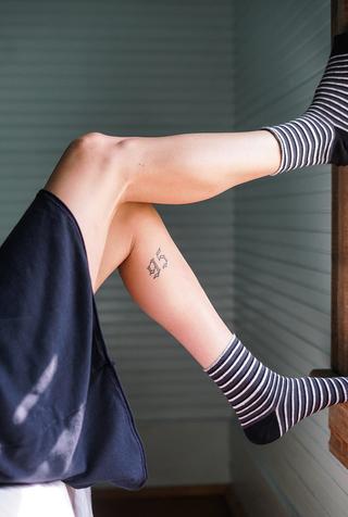 Alabama chanin organic cotton stripe socks 5