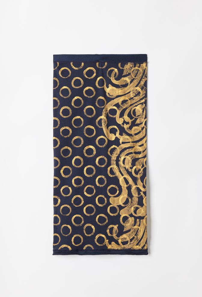 Rib skirt   dot cadence   hand painted   gold navy   ac 39   august 2019   robert rausch35