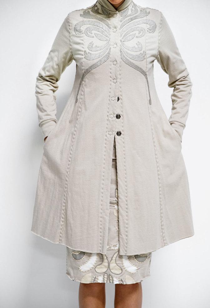 Alabama chanin viola appliqued swing coat 5