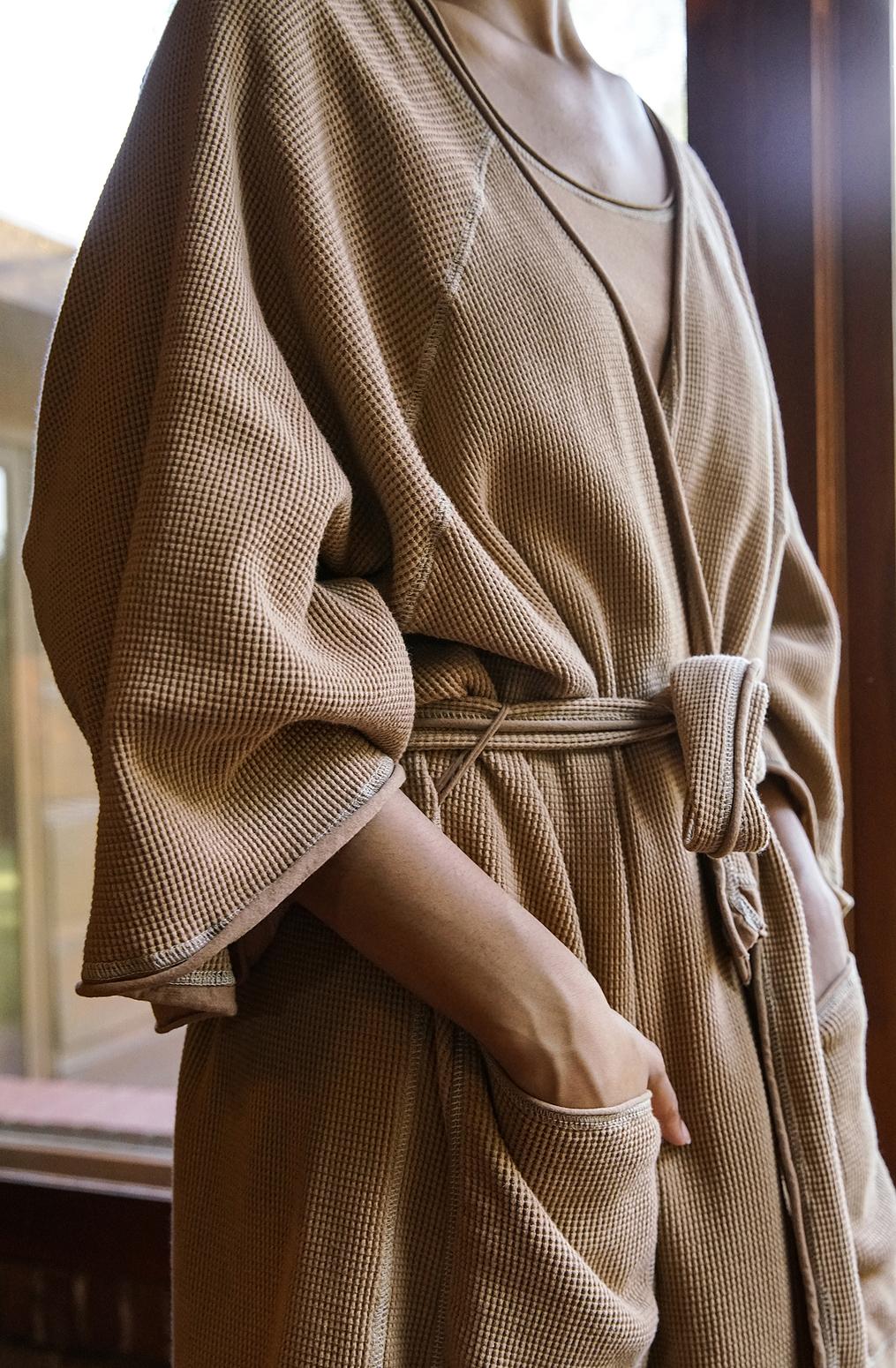 Alabama chanin organic cotton waffle bath robe2