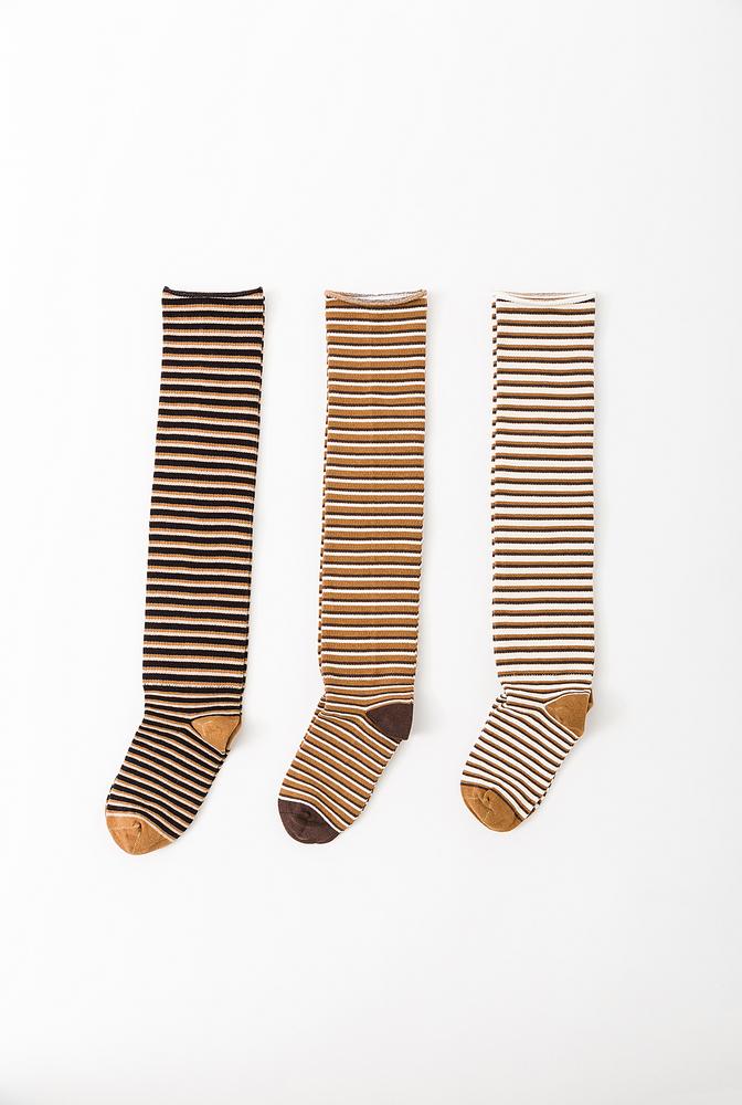 Alabama chanin organic cotton tall stripe socks 1