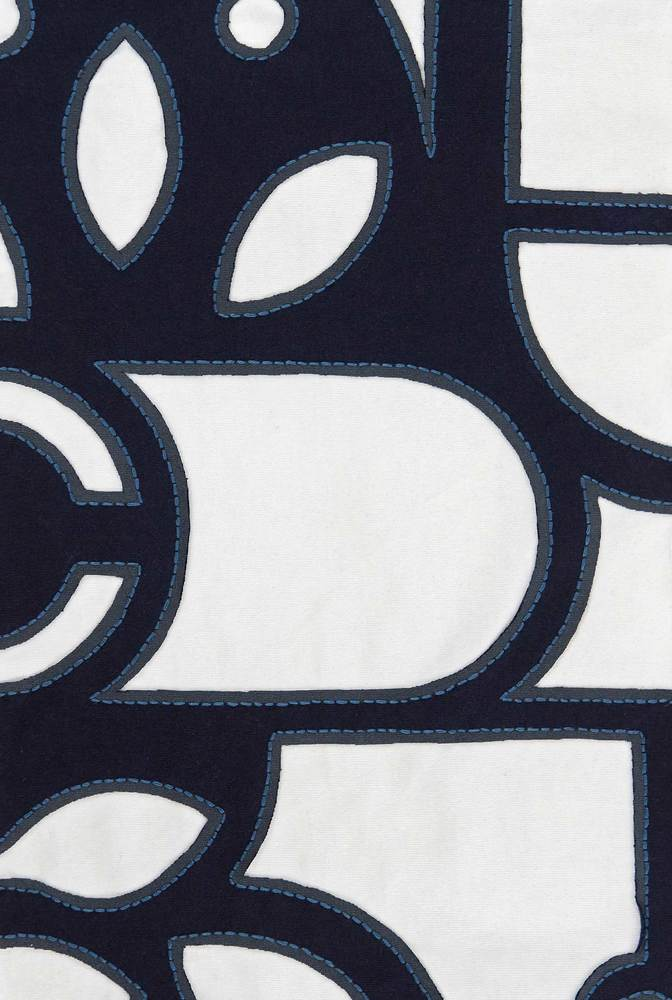 Crop fabric swatch   abstract   backstitch reverse applique   navy white   29363   december 2019   robert rausch   2