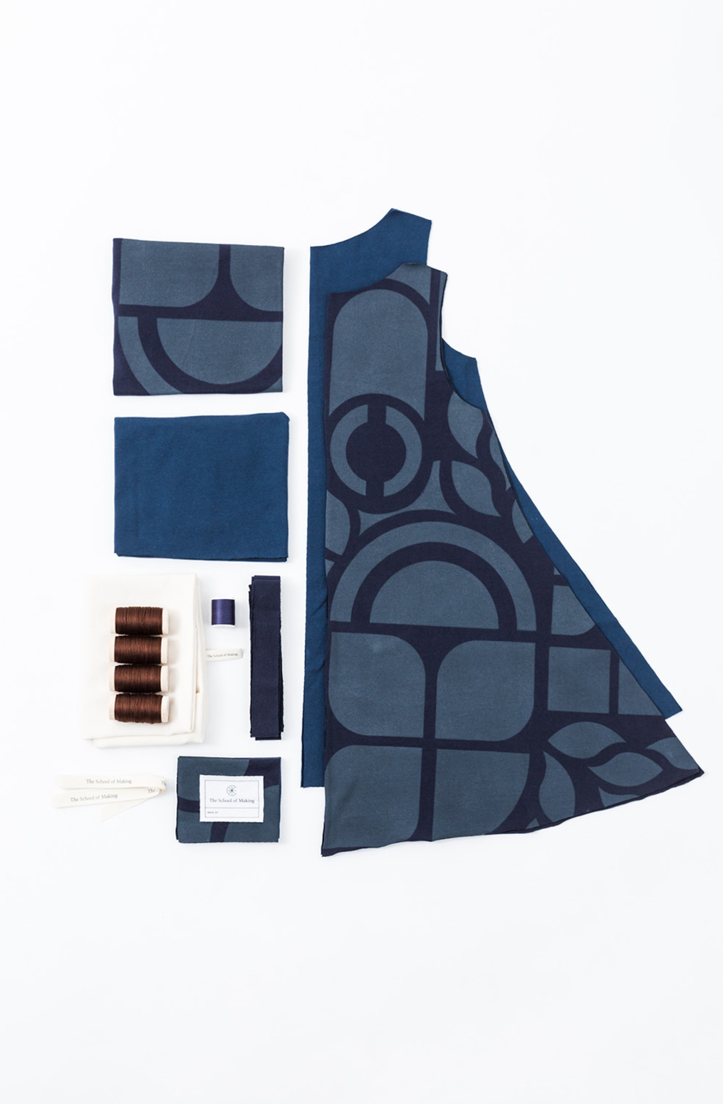 A line dress pattern   a line tunic   abstract   navy peacock   a 681   kit contents   january 2020   abraham rowe 1