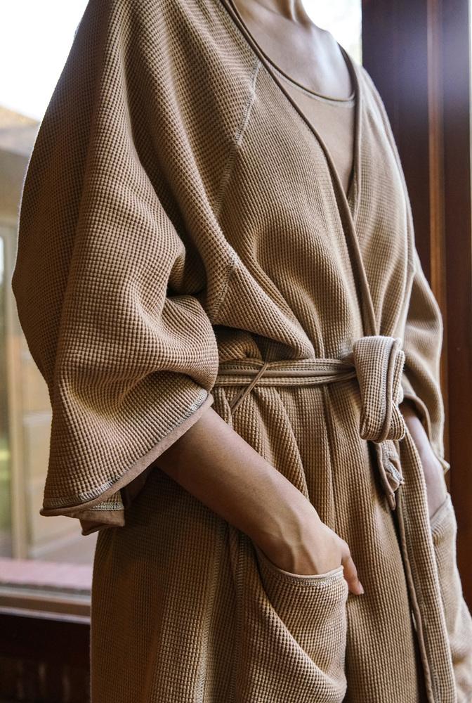 Alabama chanin organic cotton waffle bath robe 3