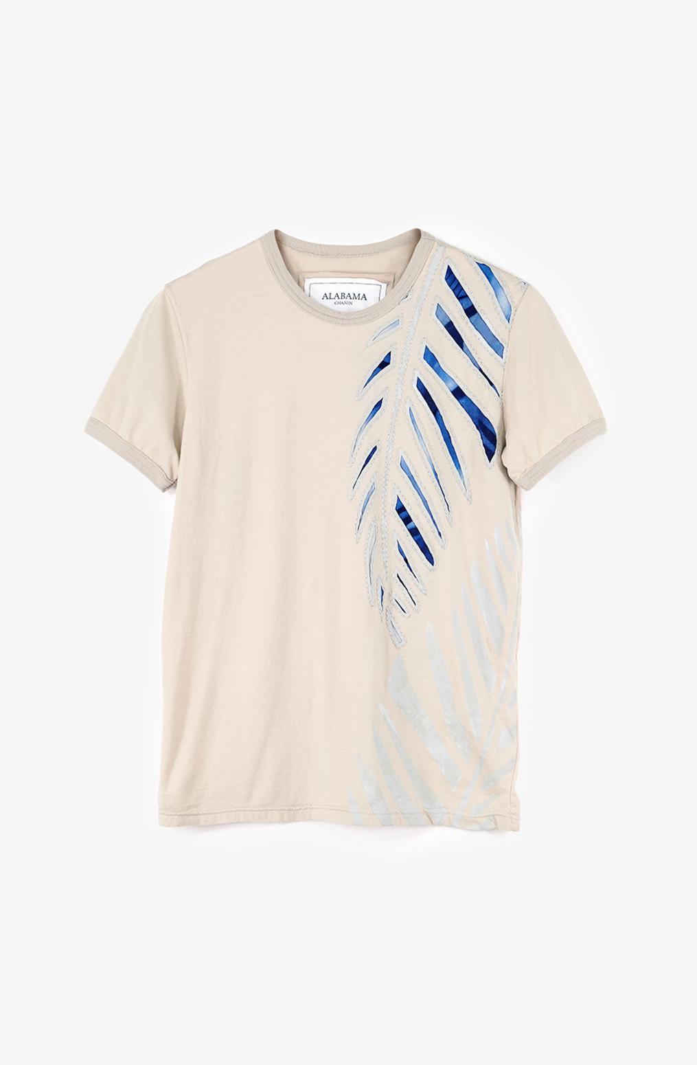 Alabama chanin lightweight organic cotton tee palm embroidery 1