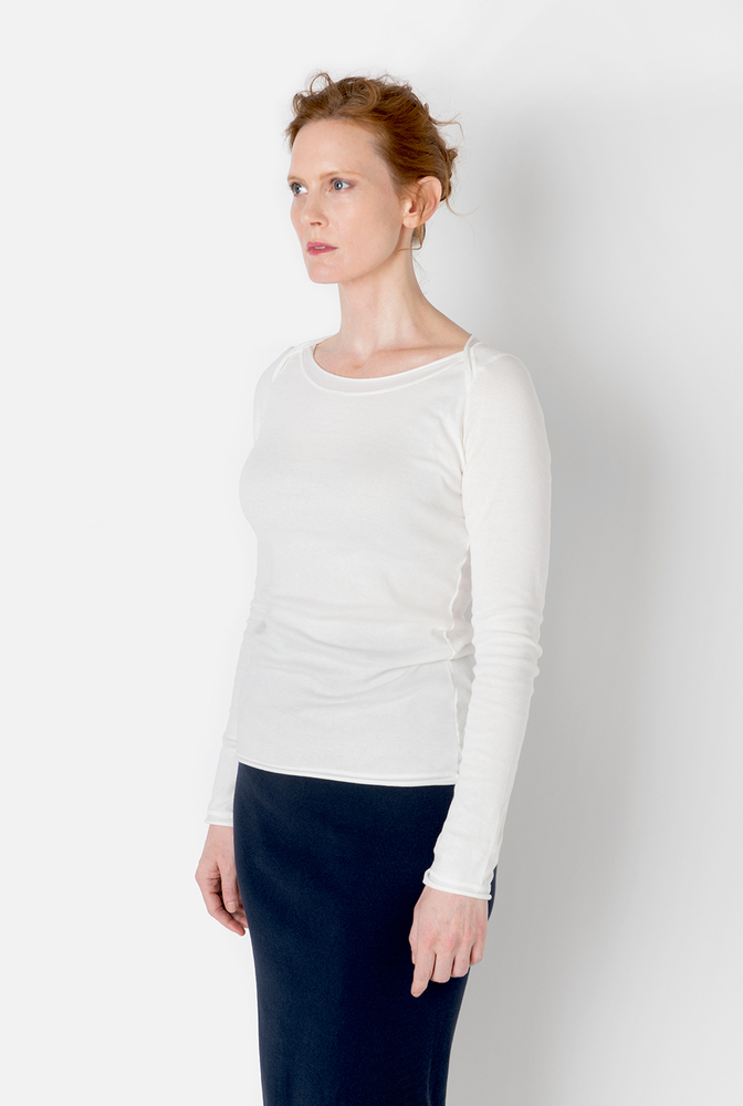 Alabama chanin boatneck womens cotton fitted top 4