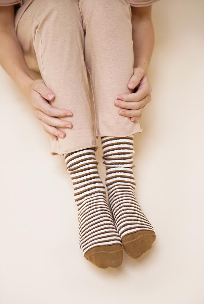Alabama chanin organic cotton socks with stripes 1