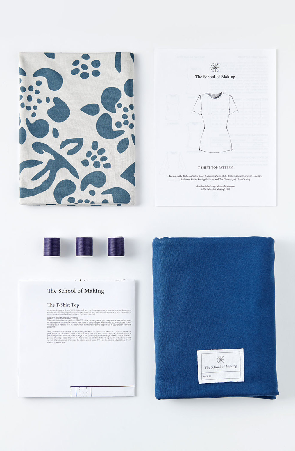 The school of making t shirt top printed fabric pattern bundle 5