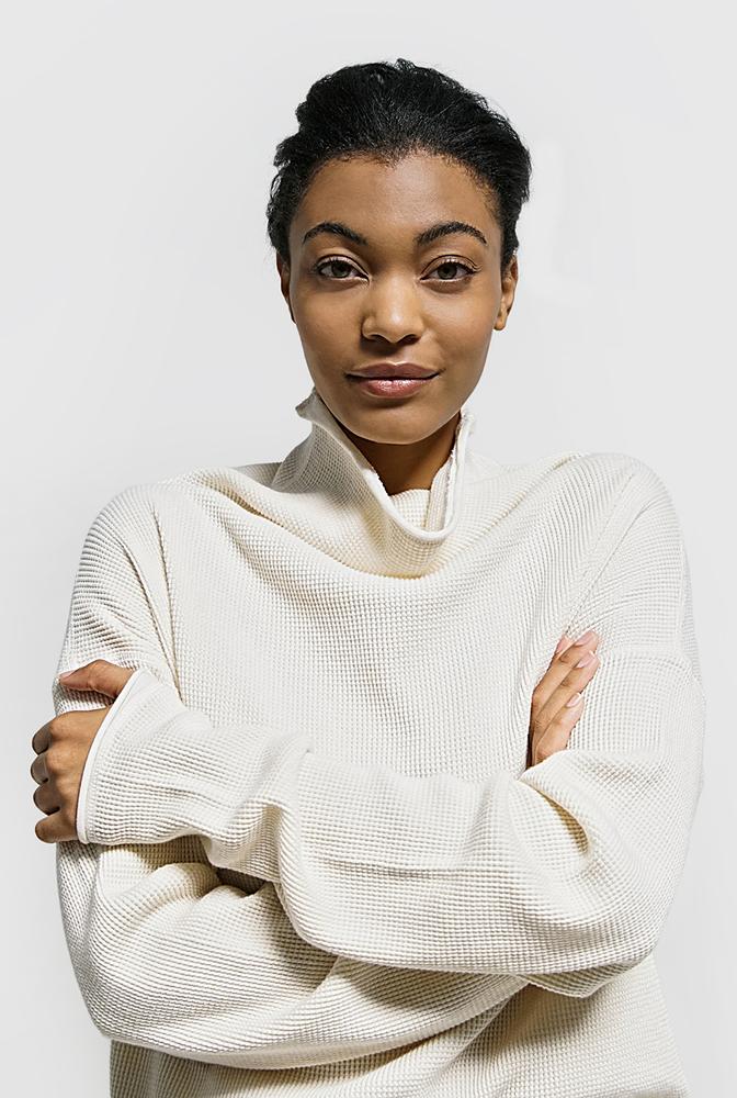 Alabama chanin womens organic cotton waffle sweatshirt top 2