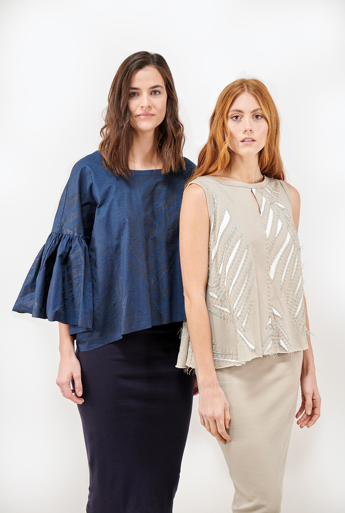 Alabama chanin metallic shirred womens hand sewn top 1