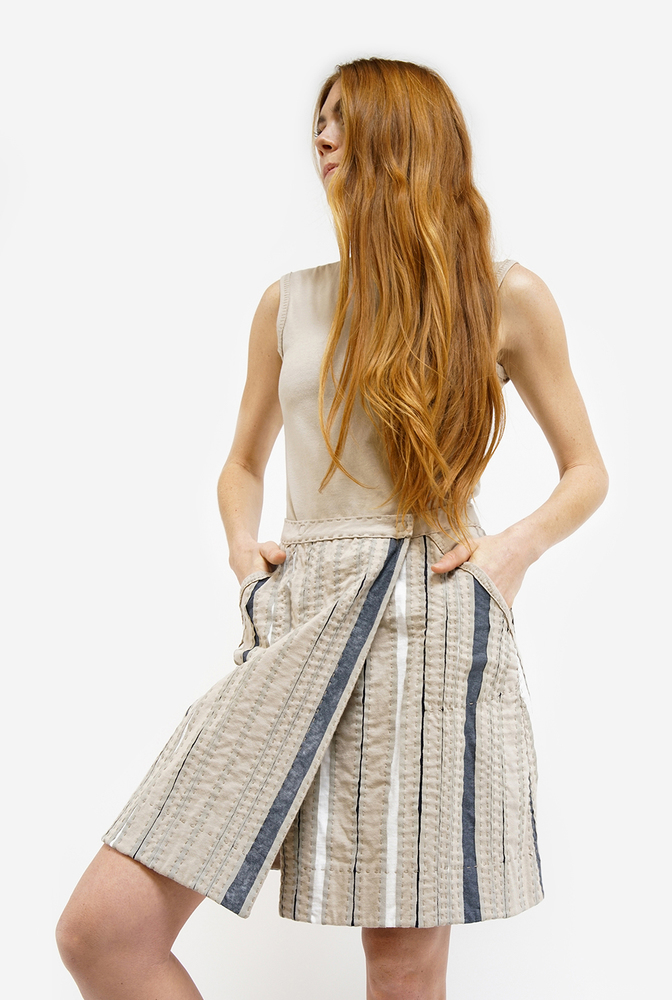 Alabama chanin womens striped wrap organic cotton skirt 2