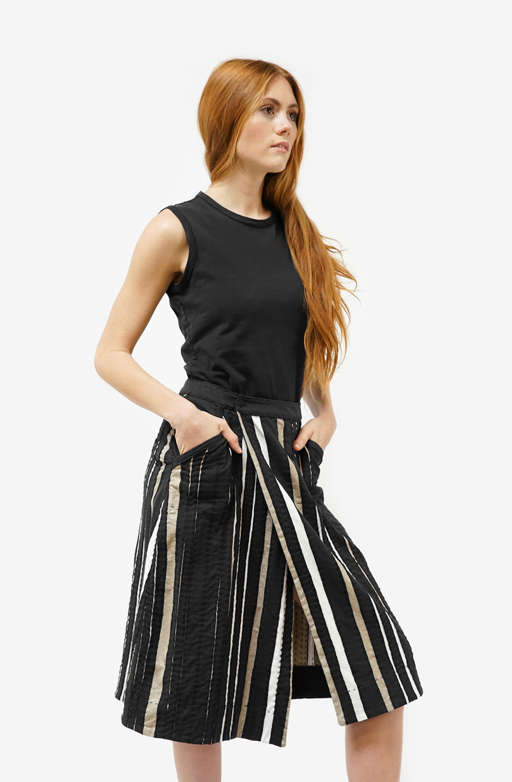 Alabama chanin womens striped wrap organic cotton skirt 3