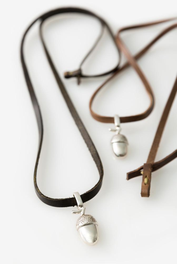 Alabama chanin acorn leather handmade necklace 3
