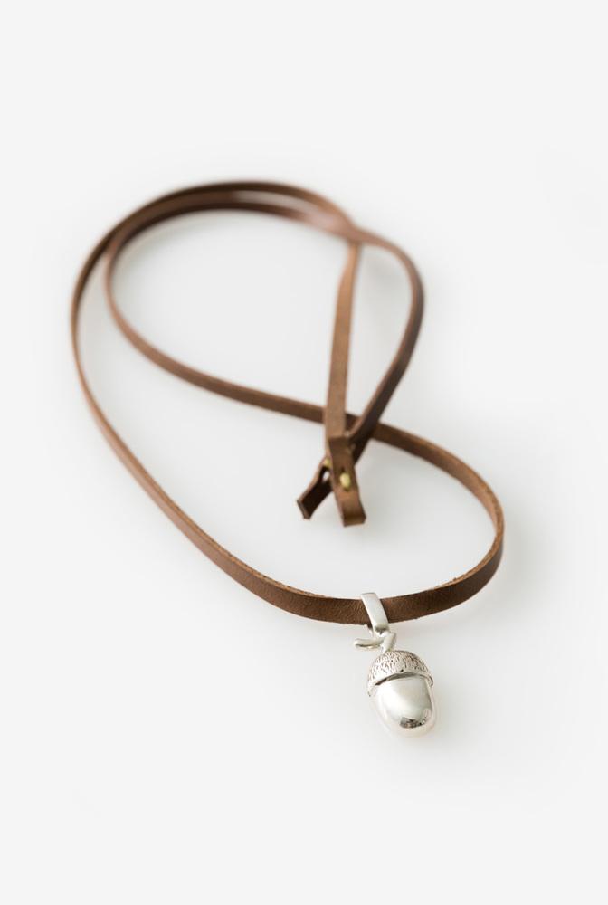 Alabama chanin acorn leather handmade necklace 1