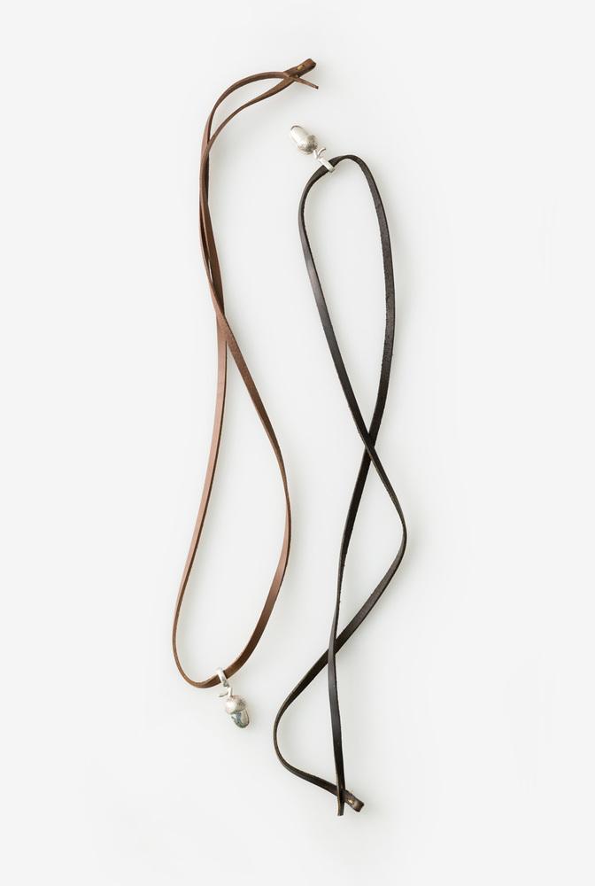 Alabama chanin acorn leather handmade necklace 2