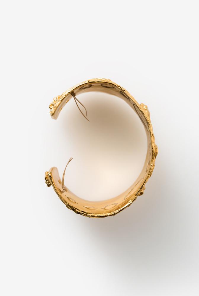 Alabama chanin cast fabric cuff silver gold bracelet 2