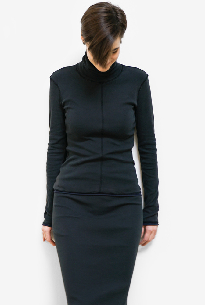 Alabama chanin rib turtleneck top 1