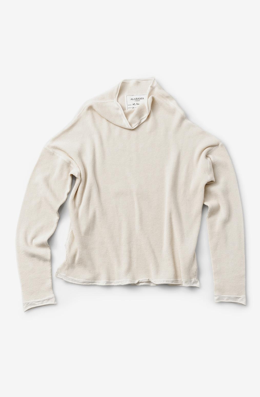 Alabama chanin womens organic cotton waffle sweatshirt top