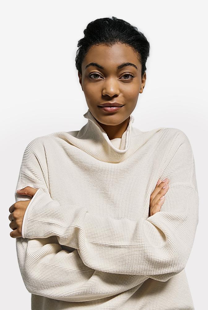 Alabama chanin womens organic cotton waffle sweatshirt top 2 %281%29