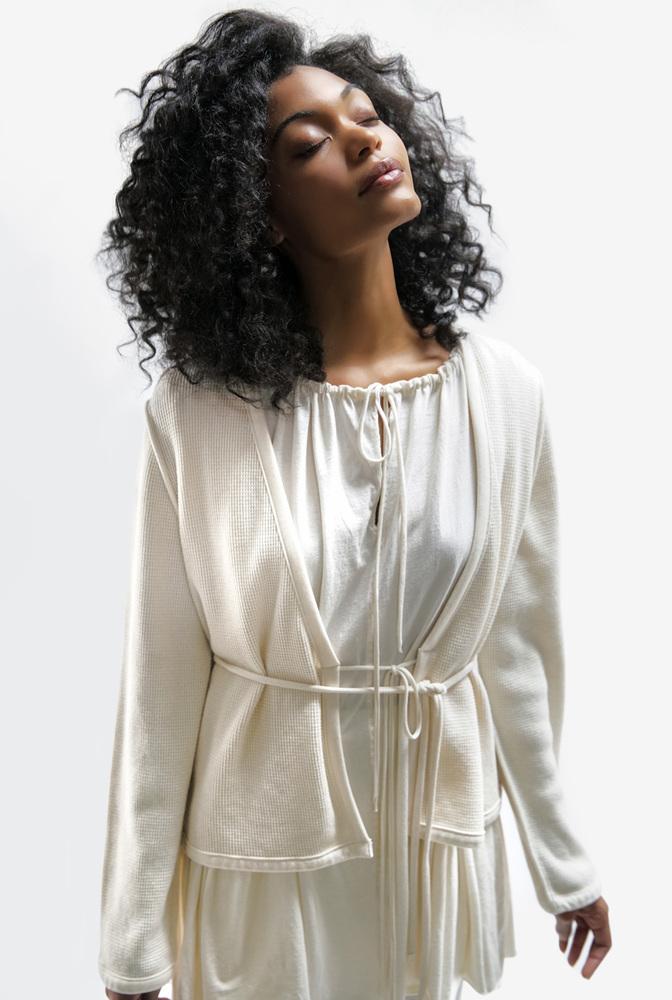 Alabama chanin womens organic cotton waffle cardigan sweater 4