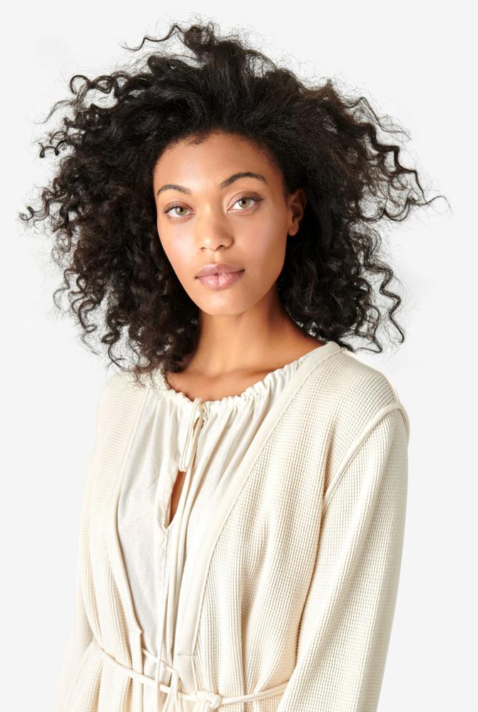Alabama chanin womens organic cotton waffle cardigan sweater 5