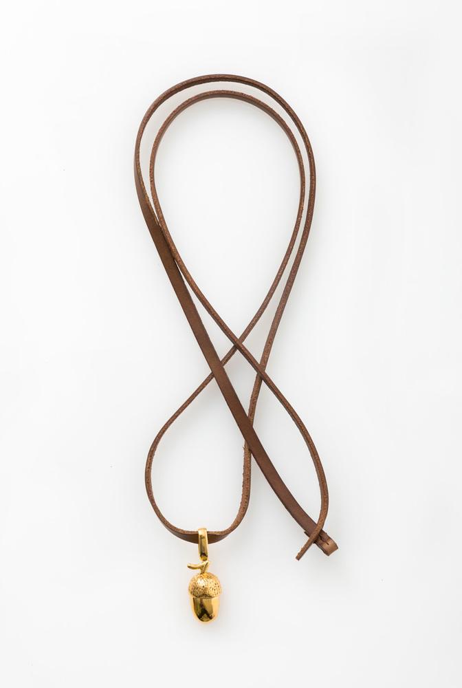 Alabama chanin handmade accessory acorn pendant leather necklace